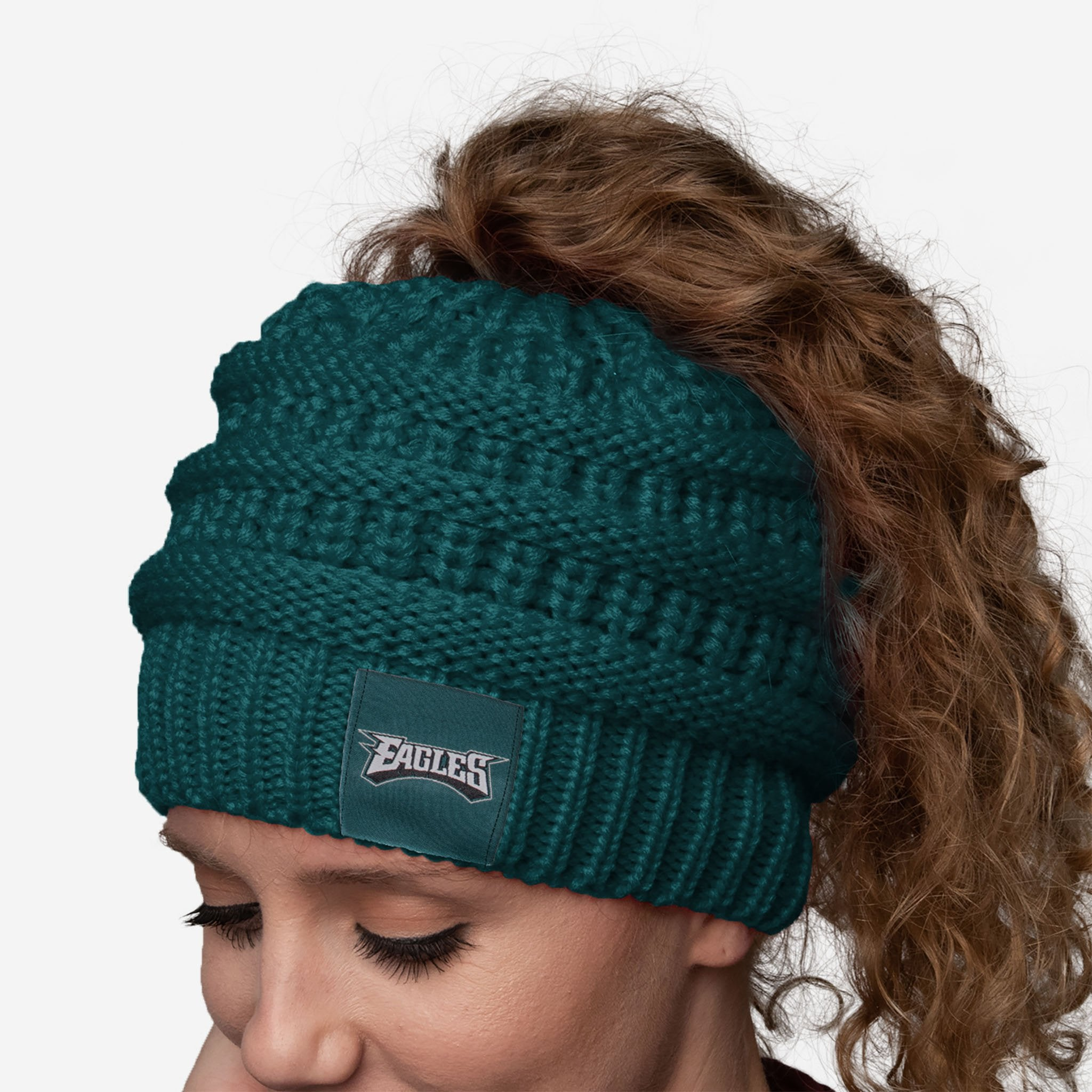 reputable site 9384a 41fe7 Philadelphia Eagles Womens Ponytail Beanie