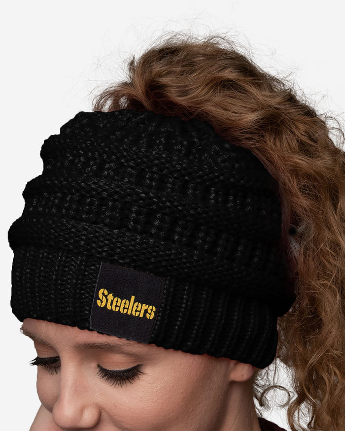 Pittsburgh Steelers Womens Ponytail Beanie FOCO - FOCO.com
