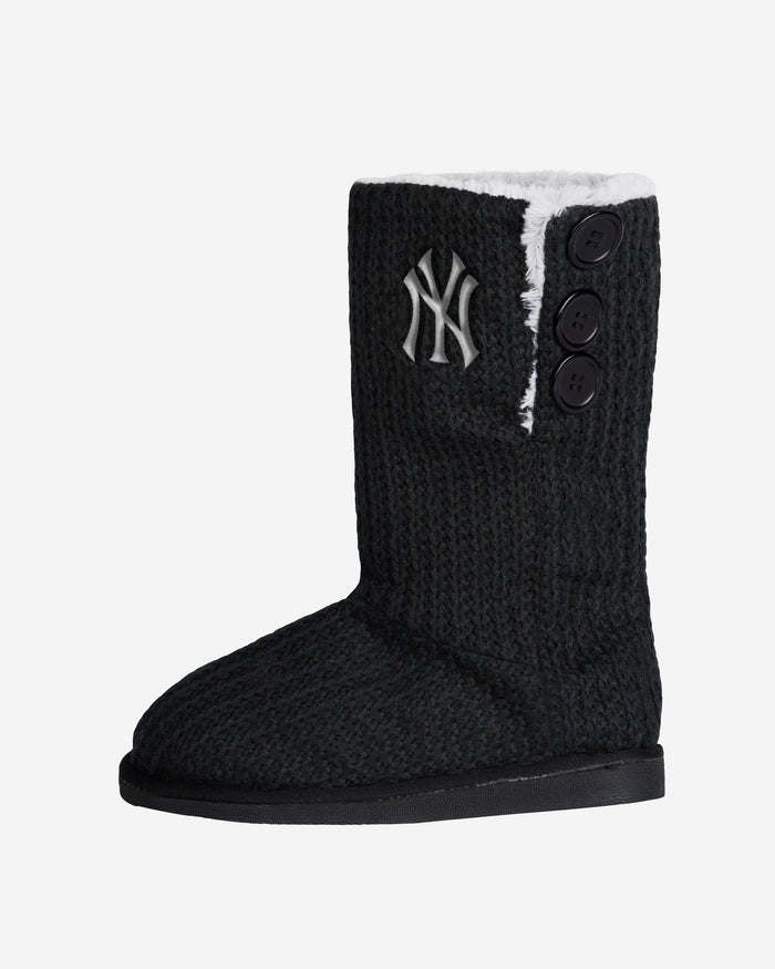 New York Yankees Knit High End Button Boot Slipper FOCO - FOCO.com