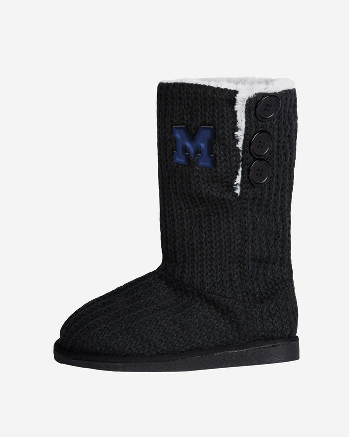 Michigan Wolverines Knit High End Button Boot Slipper FOCO - FOCO.com