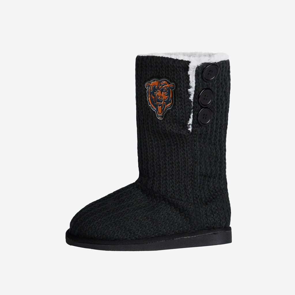 Chicago Bears Knit High End Button Boot Slipper