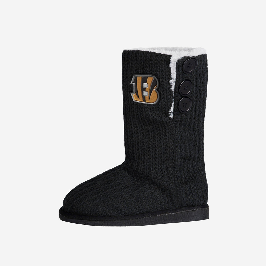 Cincinnati Bengals Knit High End Button Boot Slipper