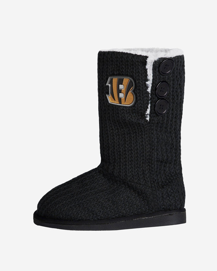 Cincinnati Bengals Knit High End Button Boot Slipper FOCO - FOCO.com