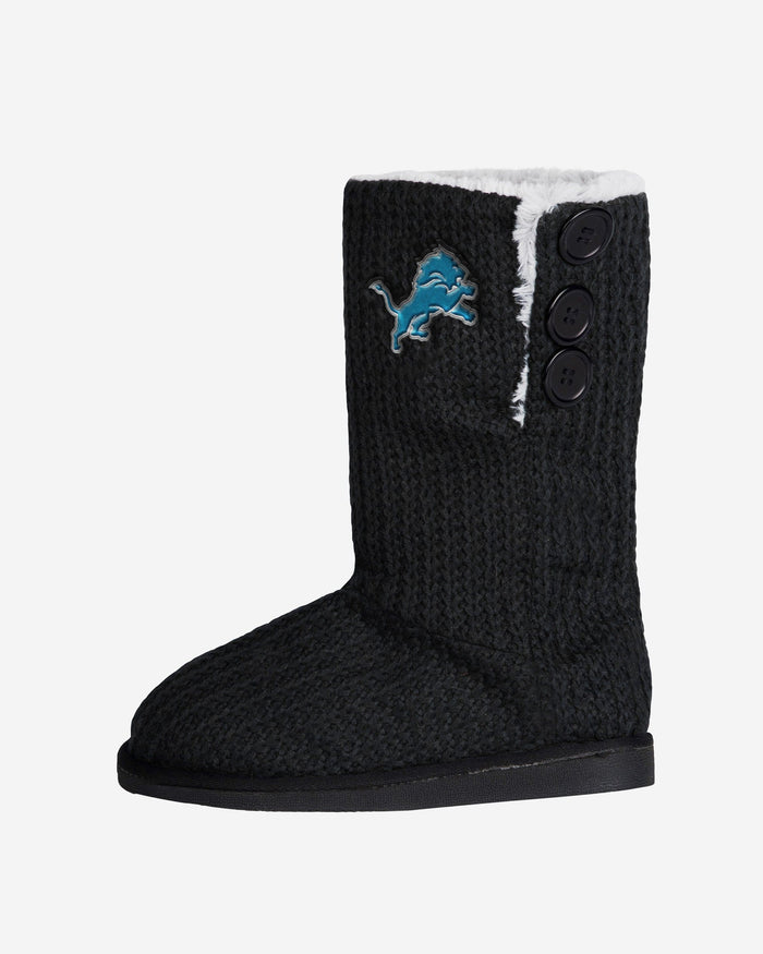 Detroit Lions Knit High End Button Boot Slipper FOCO - FOCO.com