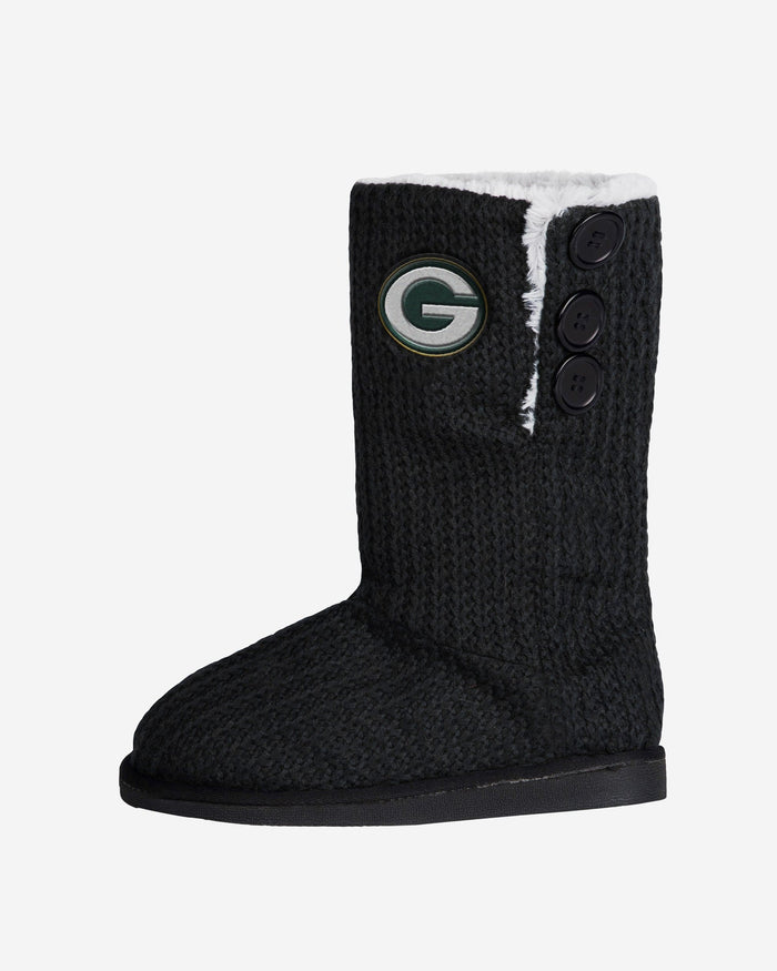 Green Bay Packers Knit High End Button Boot Slipper FOCO - FOCO.com