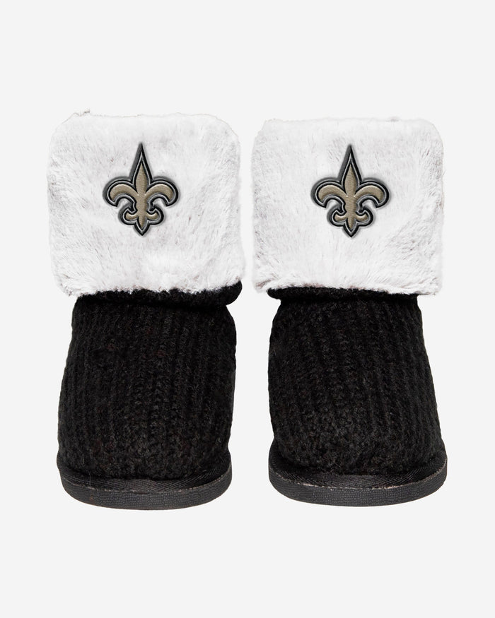 New Orleans Saints Knit High End Button Boot Slipper FOCO - FOCO.com