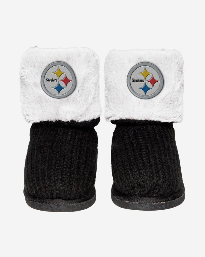 Pittsburgh Steelers Knit High End Button Boot Slipper FOCO - FOCO.com