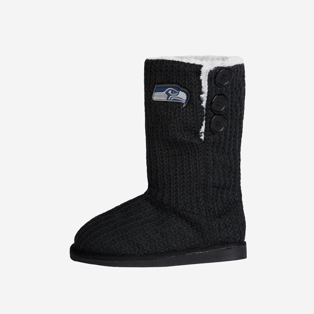 Seattle Seahawks Knit High End Button Boot Slipper