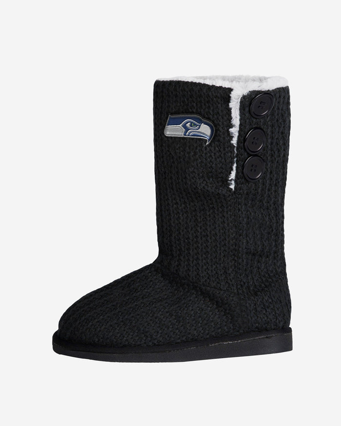 Seattle Seahawks Knit High End Button Boot Slipper FOCO - FOCO.com