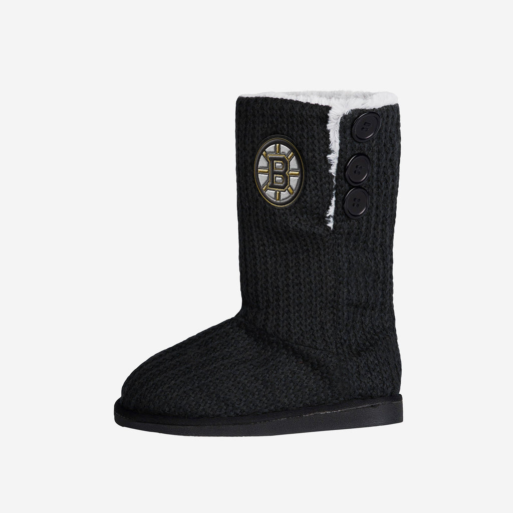 Boston Bruins Knit High End Button Boot Slipper FOCO - FOCO.com