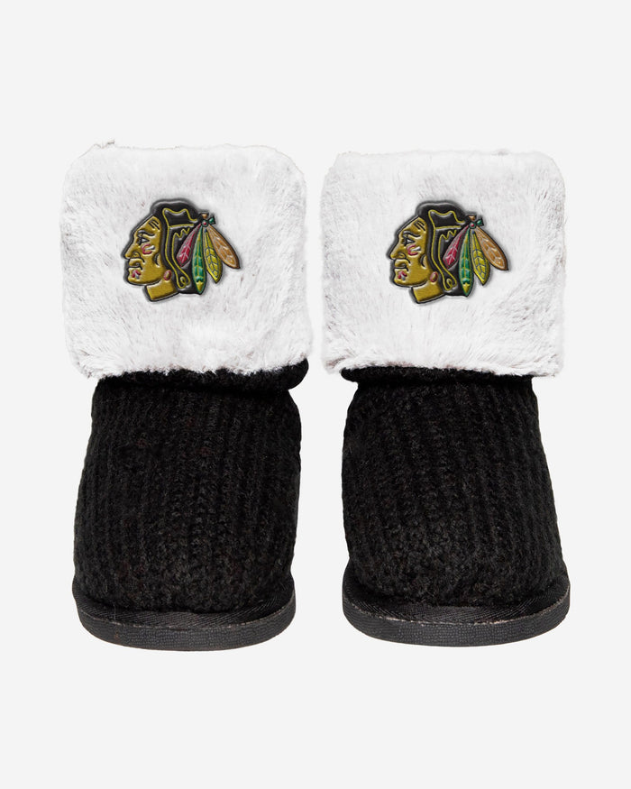 Chicago Blackhawks Knit High End Button Boot Slipper FOCO - FOCO.com
