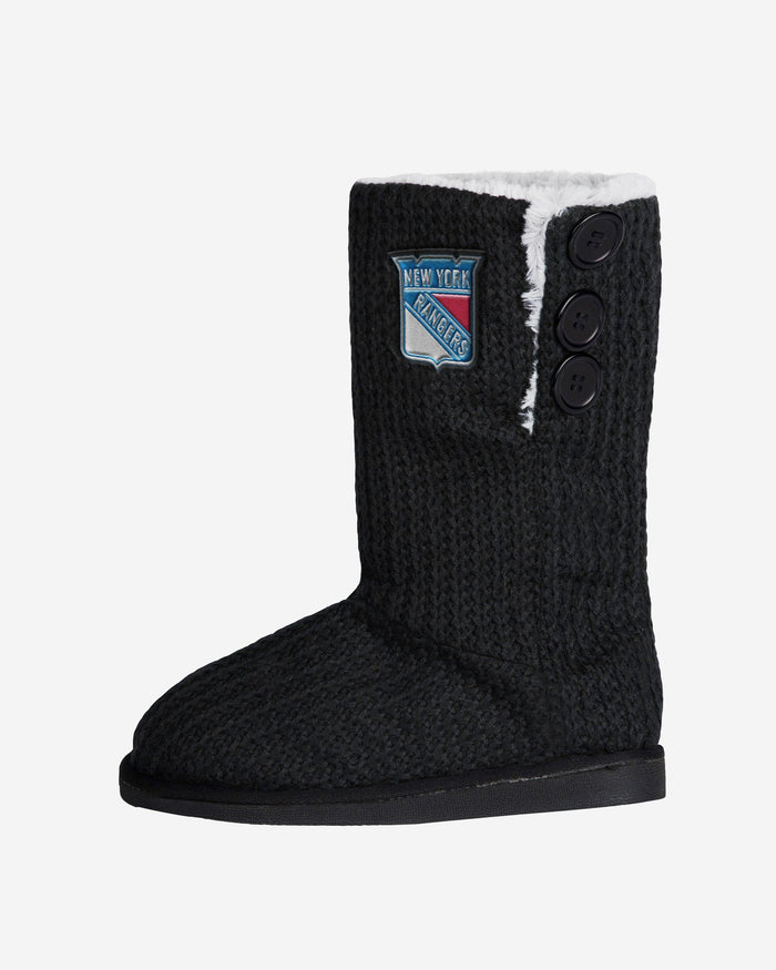 New York Rangers Knit High End Button Boot Slipper FOCO - FOCO.com