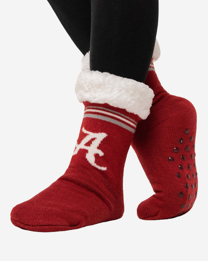 Alabama Crimson Tide Womens Stripe Logo Tall Footy Slipper Socks FOCO - FOCO.com