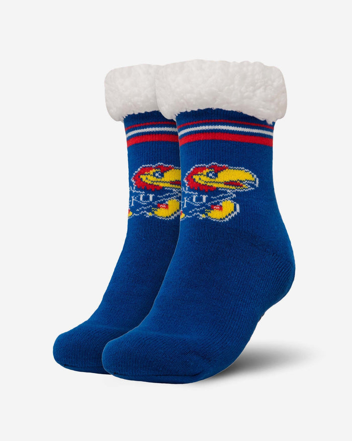 Kansas Jayhawks Womens Stripe Logo Tall Footy Slipper Socks FOCO - FOCO.com