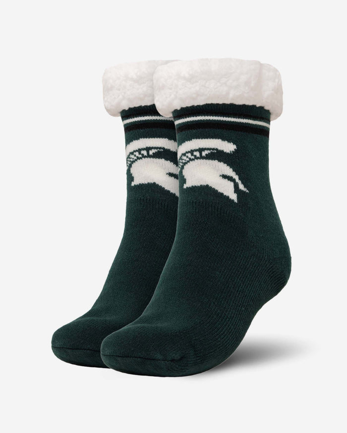 Michigan State Spartans Womens Stripe Logo Tall Footy Slipper Socks FOCO - FOCO.com