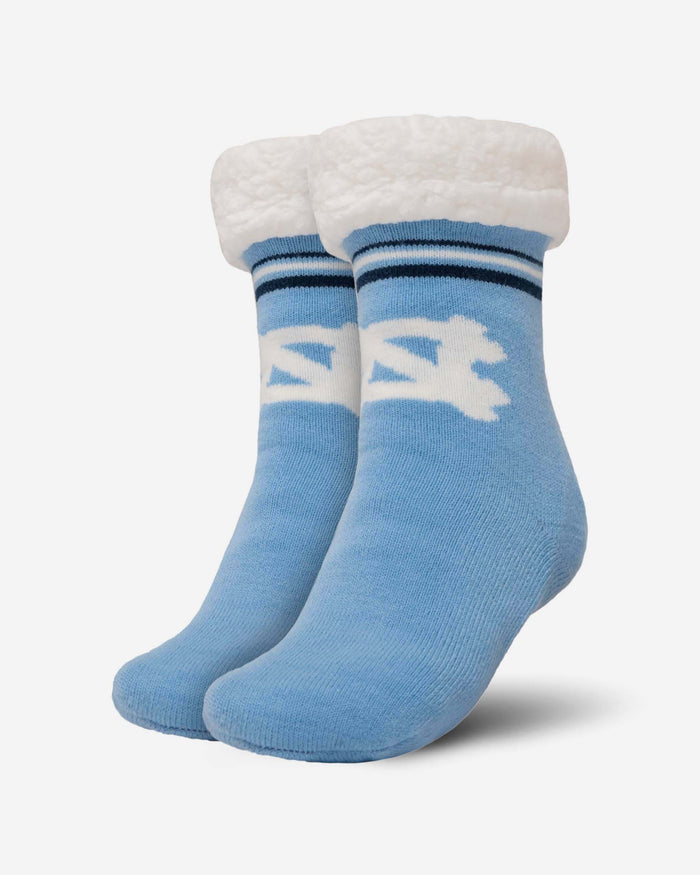 North Carolina Tar Heels Womens Stripe Logo Tall Footy Slipper Socks FOCO - FOCO.com