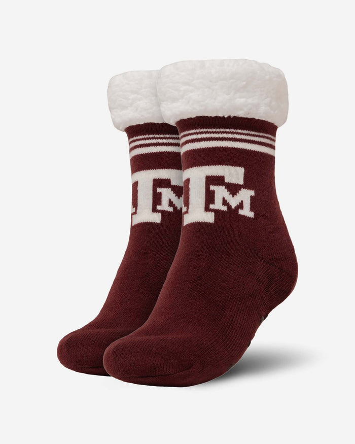 Texas A&M Aggies Womens Stripe Logo Tall Footy Slipper Socks FOCO - FOCO.com