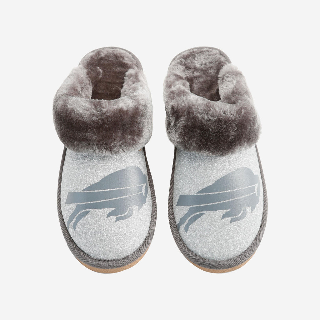 Buffalo Bills Womens Glitter Open Back Fur Moccasin FOCO S - FOCO.com