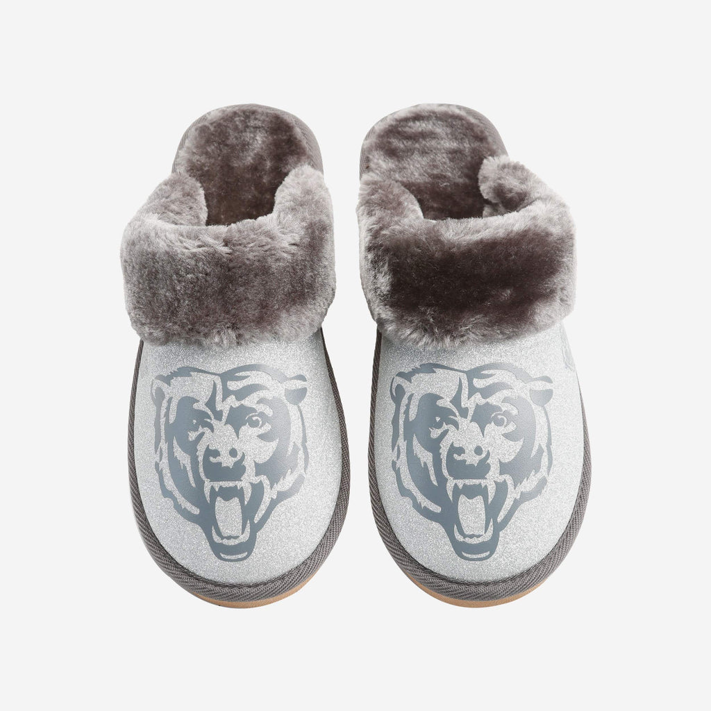 Chicago Bears Womens Glitter Open Back Fur Moccasin FOCO S - FOCO.com