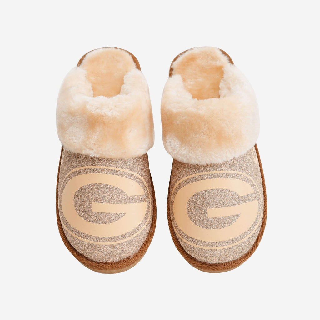 Green Bay Packers Womens Glitter Open Back Fur Moccasin FOCO S - FOCO.com