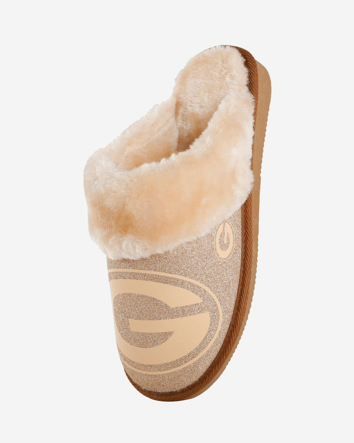 Green Bay Packers Womens Glitter Open Back Fur Moccasin FOCO - FOCO.com