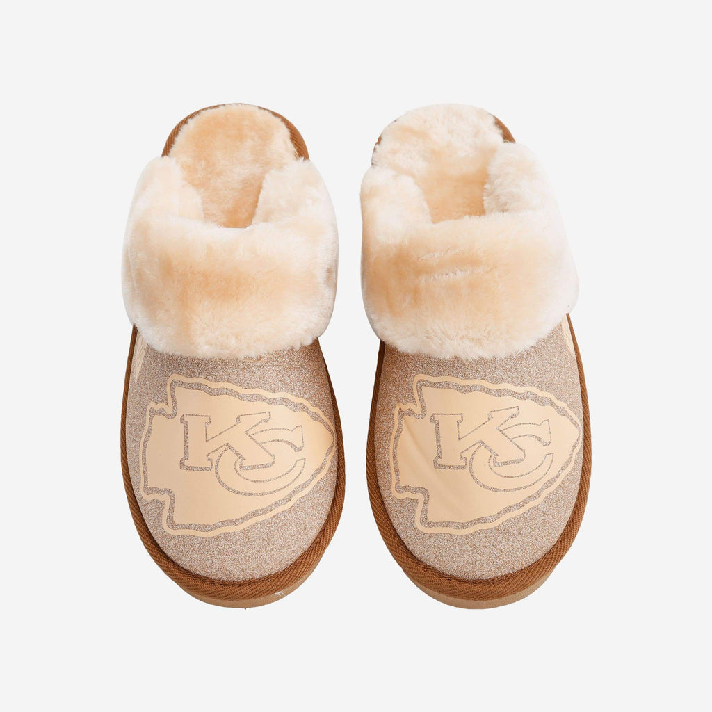 Kansas City Chiefs Womens Glitter Open Back Fur Moccasin FOCO S - FOCO.com