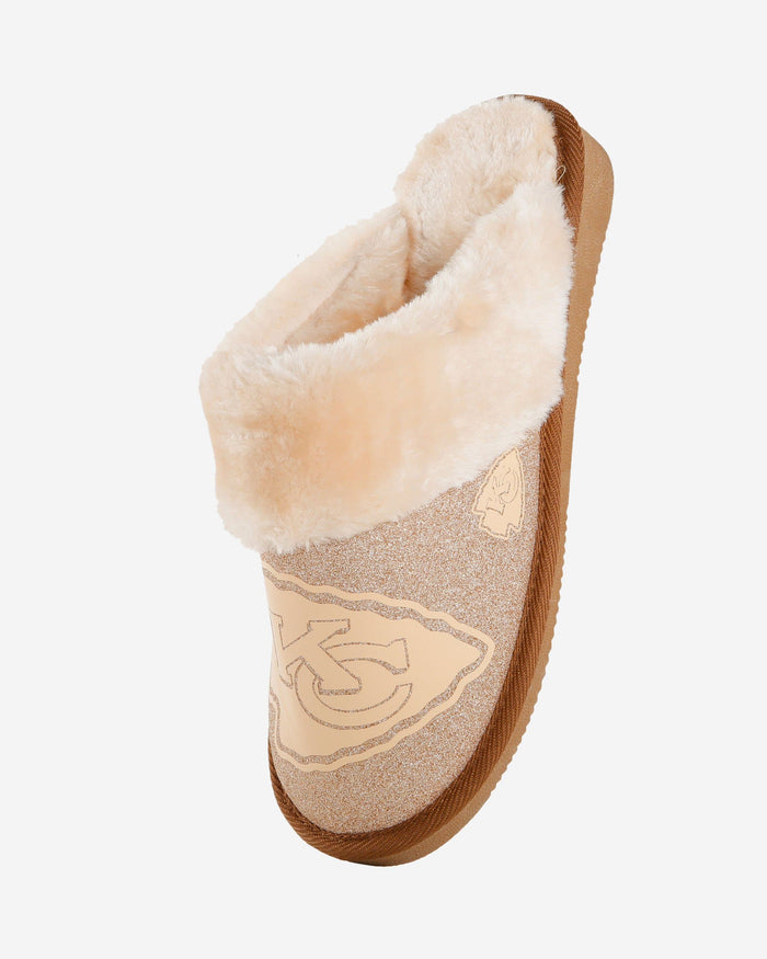 Kansas City Chiefs Womens Glitter Open Back Fur Moccasin FOCO - FOCO.com