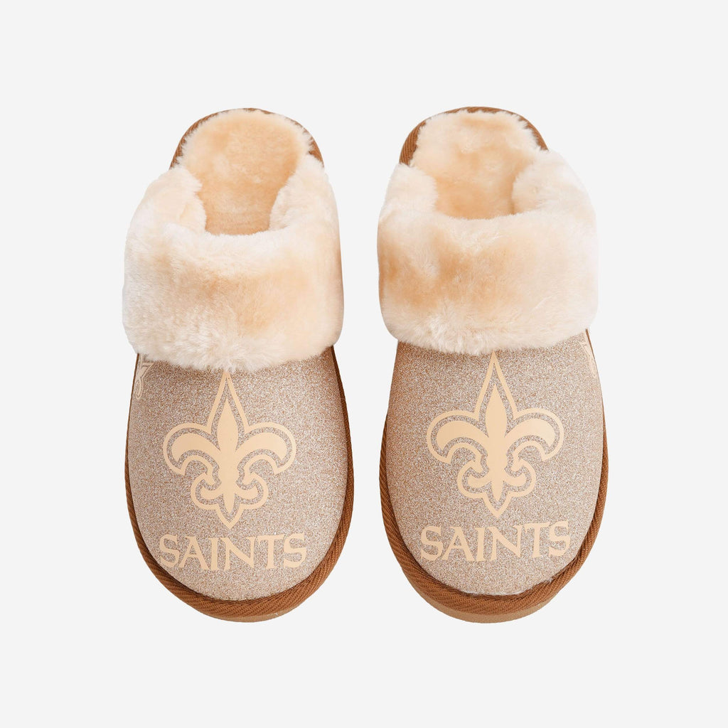 New Orleans Saints Womens Glitter Open Back Fur Moccasin FOCO S - FOCO.com