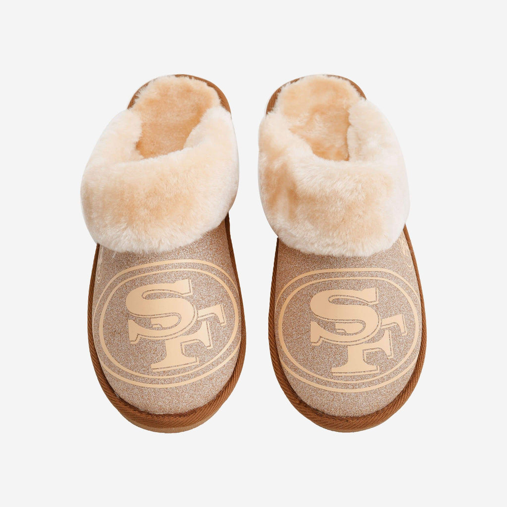 San Francisco 49ers Womens Glitter Open Back Fur Moccasin FOCO S - FOCO.com
