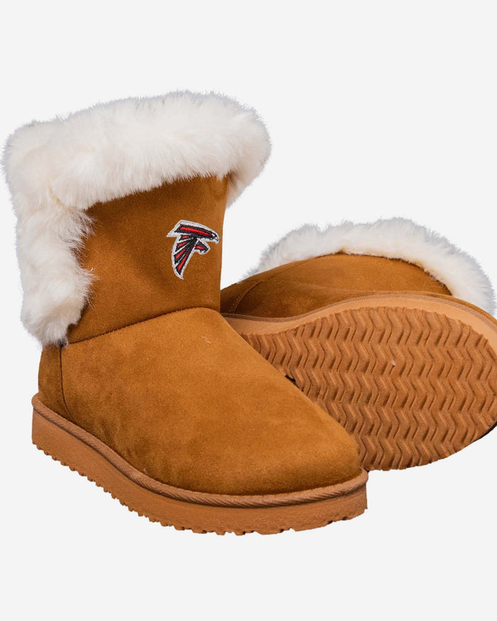 Atlanta Falcons Womens White Fur Boots FOCO - FOCO.com