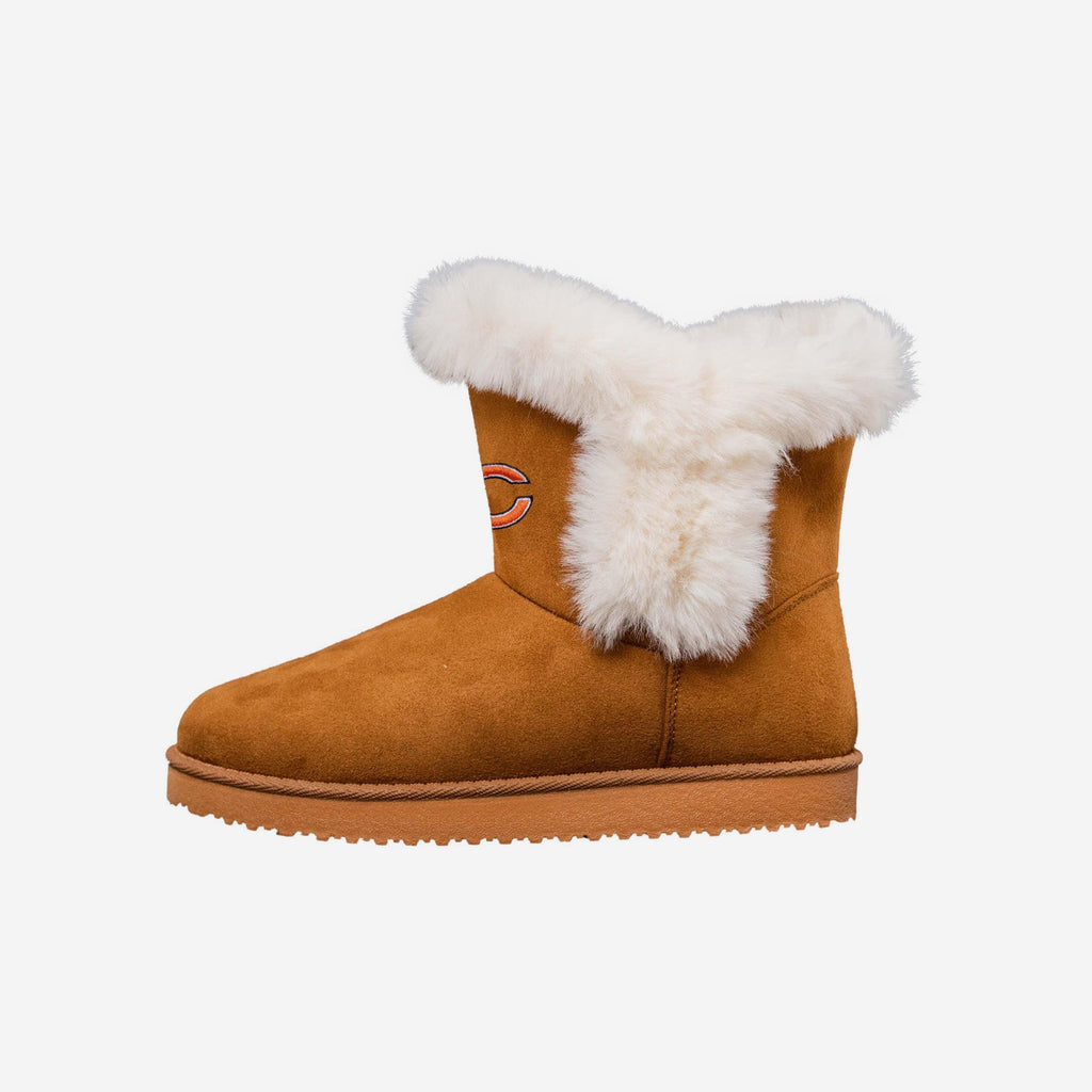 Chicago Bears Womens White Fur Boots FOCO 6 - FOCO.com