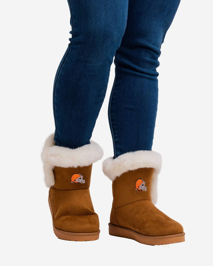 Cleveland Browns Womens White Fur Boots FOCO - FOCO.com