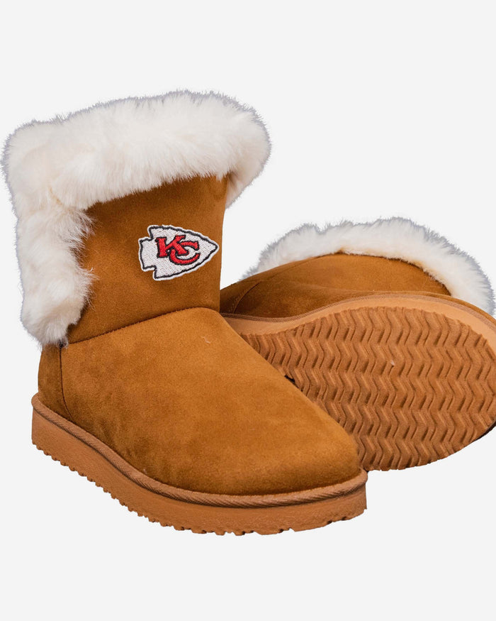 Kansas City Chiefs Womens White Fur Boots FOCO - FOCO.com