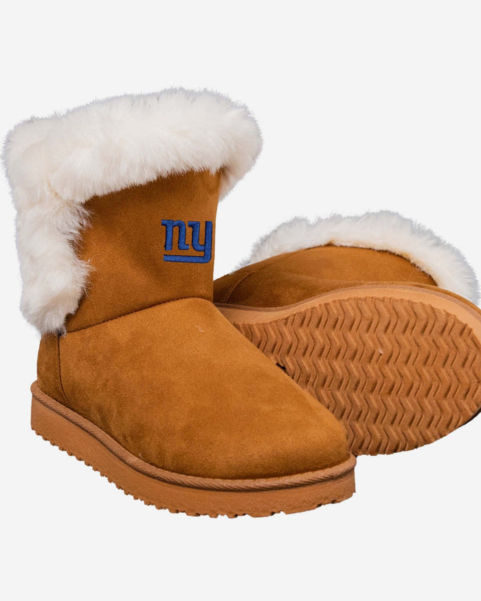 New York Giants Womens White Fur Boots FOCO - FOCO.com