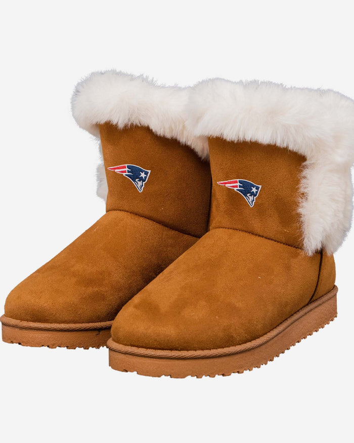 New England Patriots Womens White Fur Boots FOCO - FOCO.com