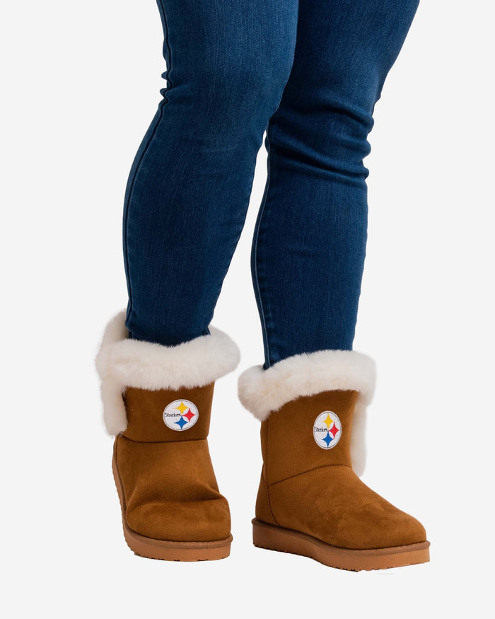 Pittsburgh Steelers Womens White Fur Boots FOCO - FOCO.com