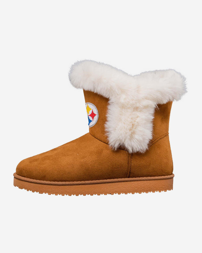 Pittsburgh Steelers Womens White Fur Boots FOCO 6 - FOCO.com