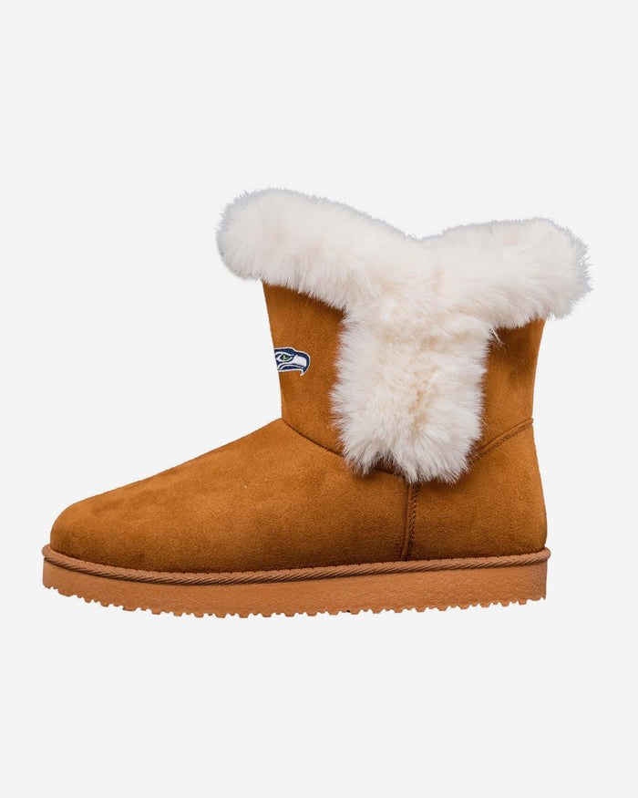 Seattle Seahawks Womens White Fur Boots FOCO 6 - FOCO.com