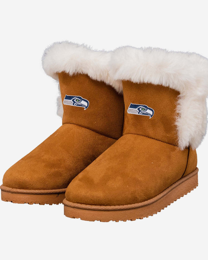 Seattle Seahawks Womens White Fur Boots FOCO - FOCO.com