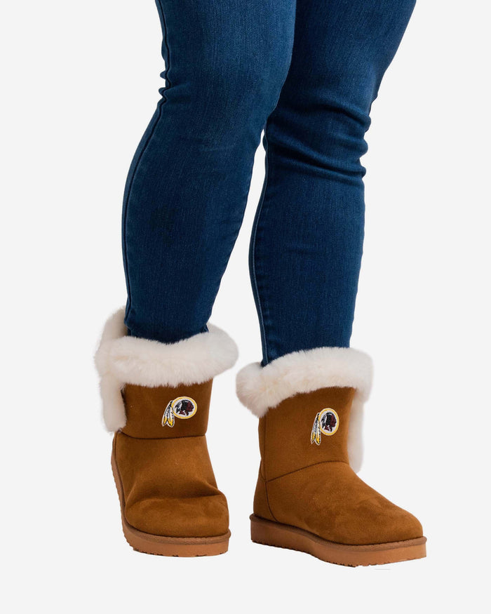 Washington Redskins Womens White Fur Boots FOCO - FOCO.com
