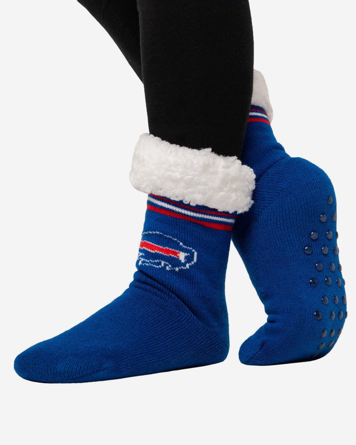 Buffalo Bills Womens Stripe Logo Tall Footy Slipper Socks FOCO - FOCO.com