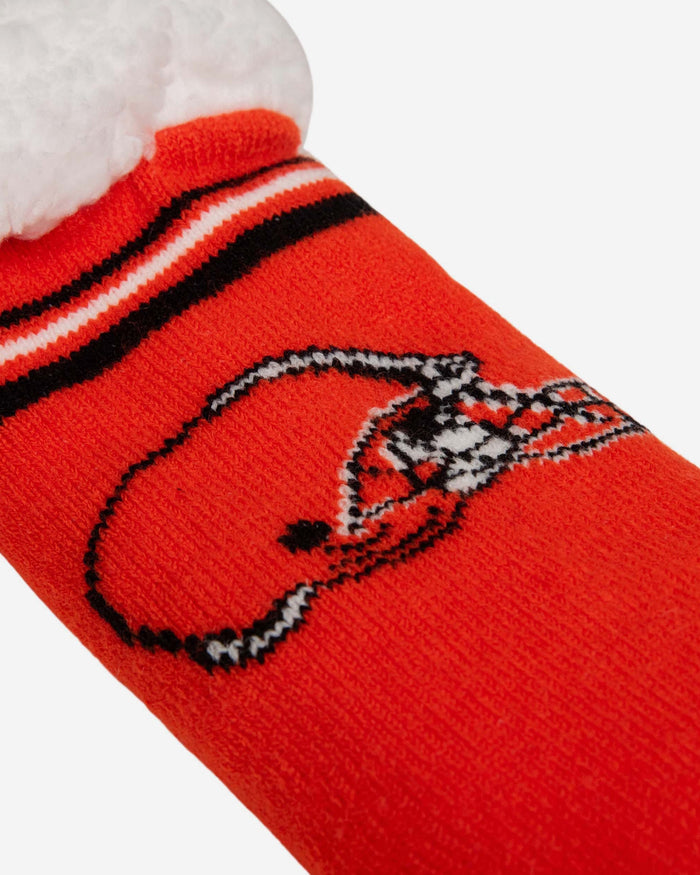 Cleveland Browns Womens Stripe Logo Tall Footy Slipper Socks FOCO - FOCO.com