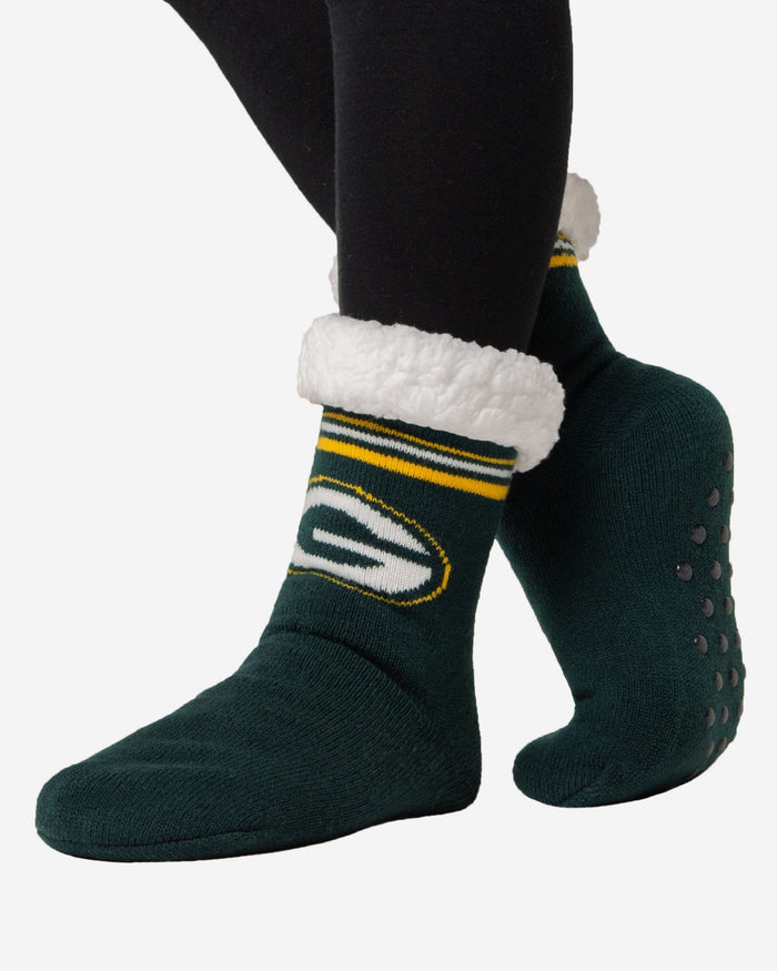 Green Bay Packers Womens Stripe Logo Tall Footy Slipper Socks FOCO - FOCO.com