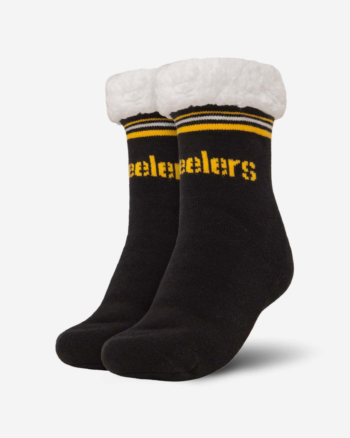 Pittsburgh Steelers Womens Stripe Logo Tall Footy Slipper Socks FOCO - FOCO.com