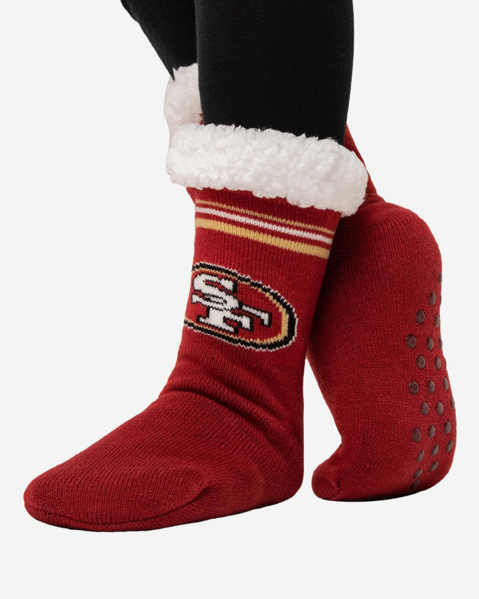 San Francisco 49ers Womens Stripe Logo Tall Footy Slipper Socks FOCO - FOCO.com