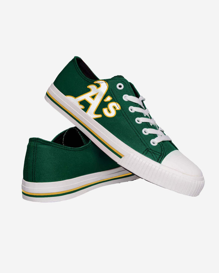 Oakland Athletics Mens Low Top Big Logo Canvas Shoe FOCO - FOCO.com
