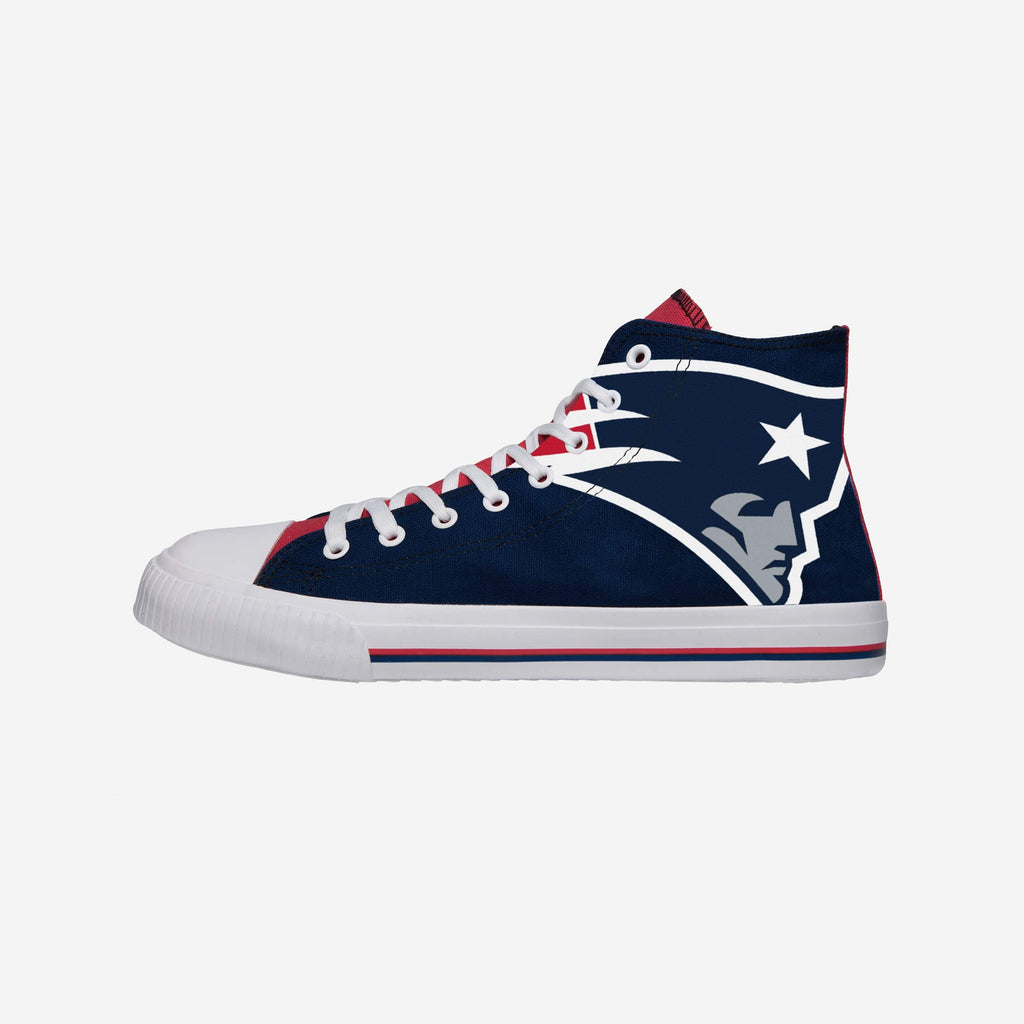 New England Patriots Mens High Top Big Logo Canvas Shoe