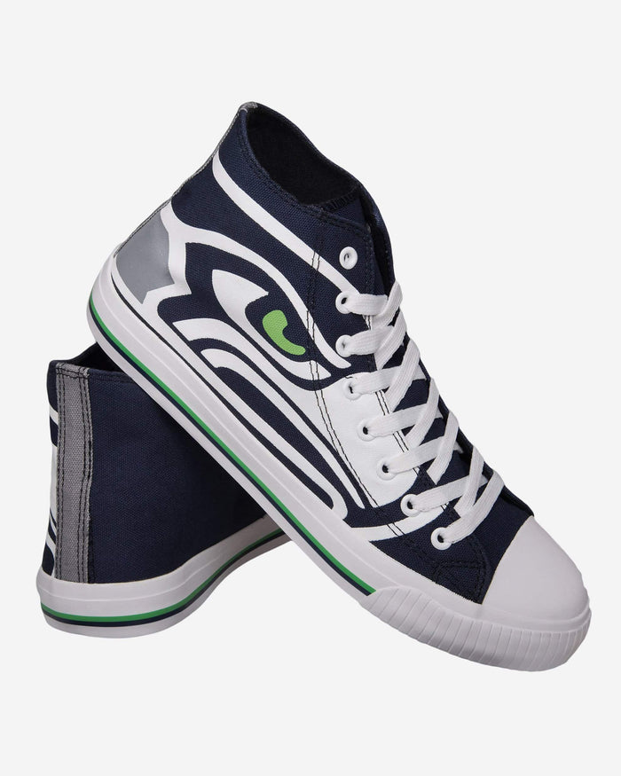 Seattle Seahawks Mens High Top Big Logo Canvas Shoe FOCO - FOCO.com