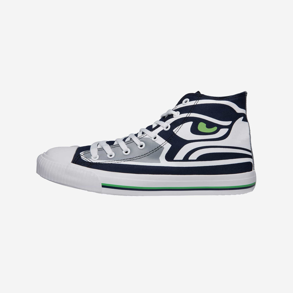 Seattle Seahawks Mens High Top Big Logo Canvas Shoe