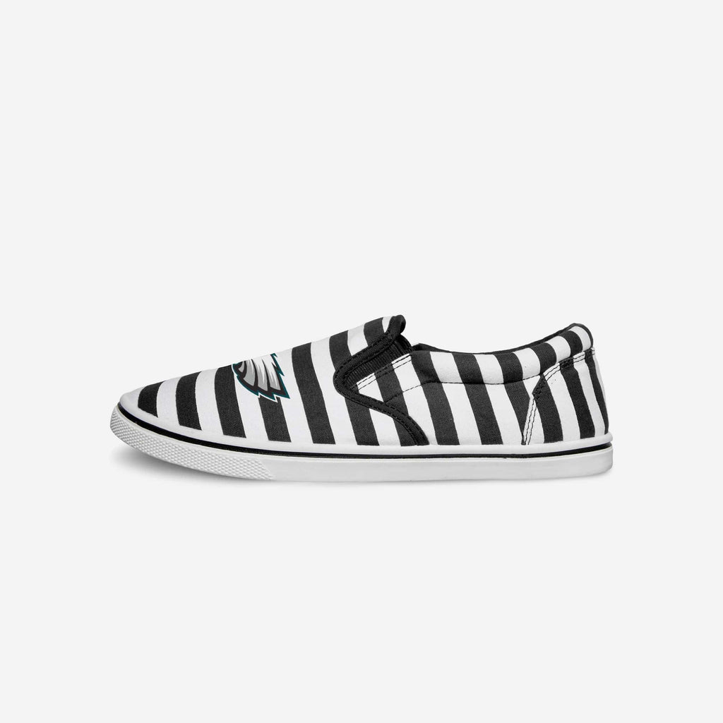 Philadelphia Eagles Striped Slip On Canvas Shoe FOCO - FOCO.com
